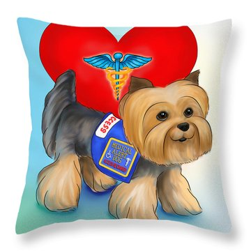 Medical Alert Yorkie Throw Pillow by Catia Cho