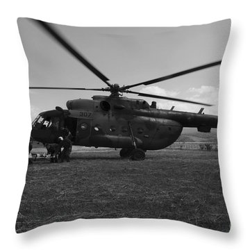 Medical Personnel Carrying A Stretcher Throw Pillow