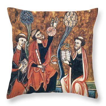 Medieval Astronomers With Astrolabe Throw Pillow