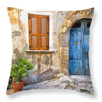 Mediterranean Door Window And Vase Throw Pillow by Silvia Ganora