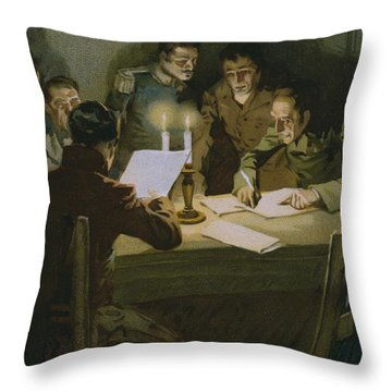 Meeting Of The First Partisans Resisting The Occupiers Throw Pillow by Italian School
