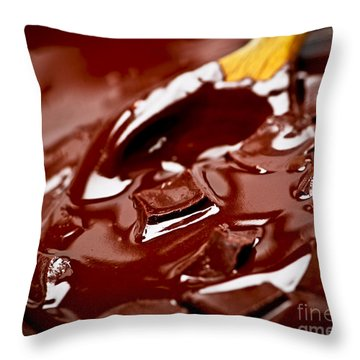 Melting Chocolate And Spoon Throw Pillow by Elena Elisseeva