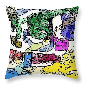 Throw Pillow featuring the digital art Melting Troubles by Alec Drake
