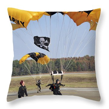 Members Of The Golden Knights Parachute Throw Pillow by Stocktrek Images