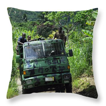 Members Of The Royal St. Lucia Police Throw Pillow