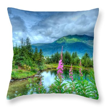 Mendenhall Fireweed Throw Pillow