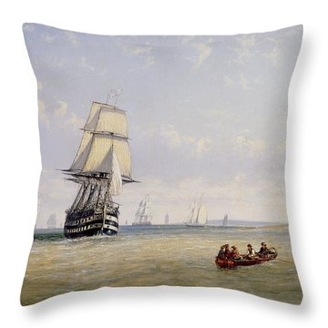 Meno War Schooners And Royal Navy Yachts Throw Pillow by Claude T Stanfield Moore