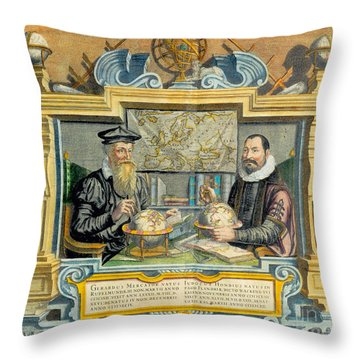 Mercator And Hondius Throw Pillow by Science Source