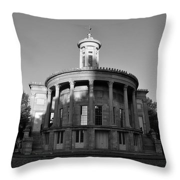 Merchant Exchange Building - Philadelphia In Black And White Throw Pillow by Bill Cannon