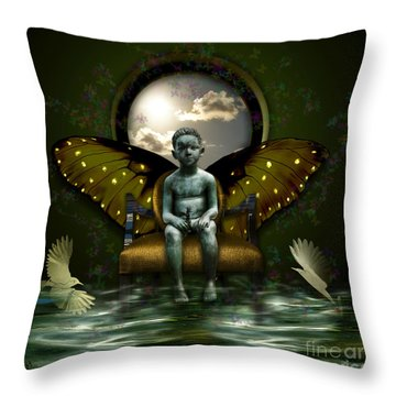 Throw Pillow featuring the digital art Mercury Child by Rosa Cobos