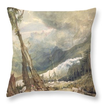 Mere De Glace - In The Valley Of Chamouni Throw Pillow by Joseph Mallord William Turner