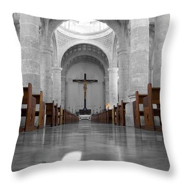 Throw Pillow featuring the photograph Merida Mexico Cathedral Interior Color Splash Black And White by Shawn O'Brien