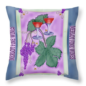 Merlot Fine Wines Orchard Box Label Throw Pillow by Anne Norskog