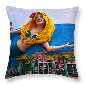 Mermaid Building Throw Pillow by Garry Gay