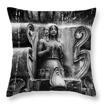 Mermaid Fountain Throw Pillow by Tom Bell