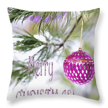 Throw Pillow featuring the photograph Merry Christmas Card With Pink Ornament On Snowy Pine Tree  by Marianne Campolongo