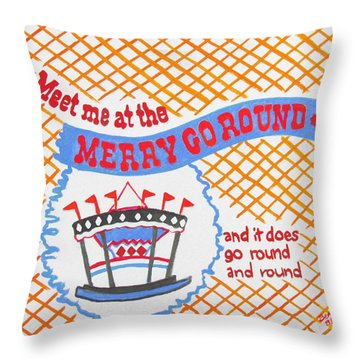 Merry Go Round Throw Pillow by Beth Saffer