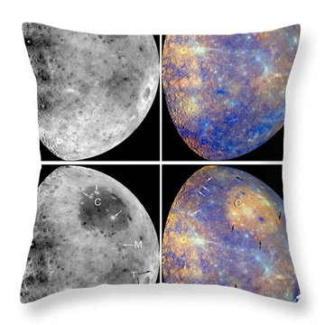 Messenger Image Of Mercury Throw Pillow by Nasa