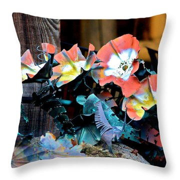 Metallic Poppies Throw Pillow by Karon Melillo DeVega