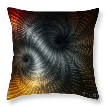 Throw Pillow featuring the digital art Metallic Spin by Elaine Manley
