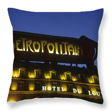 Metro Sign. Paris. France Throw Pillow by Bernard Jaubert