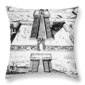 Mexico: Aztec Temple, 1765 Throw Pillow by Granger