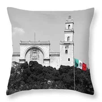 Throw Pillow featuring the photograph Mexico Flag On Merida Cathedral San Ildefonso Town Square Color Splash Black And White by Shawn O'Brien