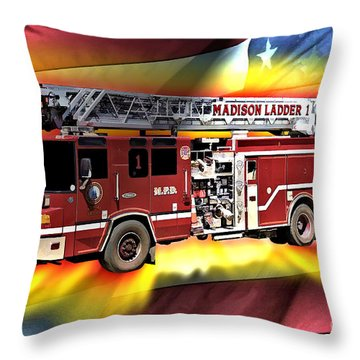 Mfd Ladder Co 1 Throw Pillow by Tommy Anderson