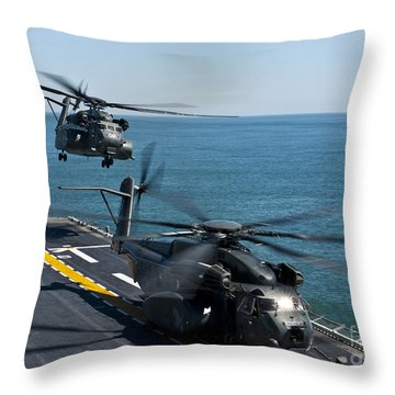 Mh-53e Sea Dragon Helicopters Take Throw Pillow by Stocktrek Images