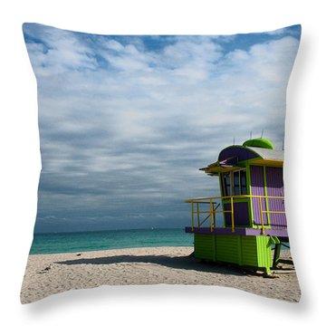 Miami 12th Street Beach  Throw Pillow by Barbara McMahon