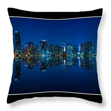 Miami Skyline Night Panorama Throw Pillow by Carsten Reisinger