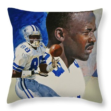 Throw Pillow featuring the painting Michael Irvin by Cliff Spohn