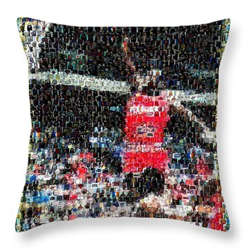 Michael Jordan Rookie Mosaic Throw Pillow by Paul Van Scott
