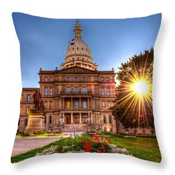 Throw Pillow featuring the photograph Michigan Capitol - Hdr - 2 by Larry Carr