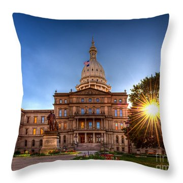 Throw Pillow featuring the photograph Michigan Capitol - Hdr-1 by Larry Carr