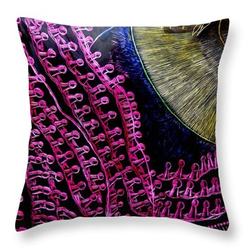 Throw Pillow featuring the drawing Micro Beetle Phase Two by Lisa Brandel