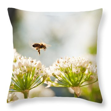 Throw Pillow featuring the photograph Mid-pollenation by Cheryl Baxter
