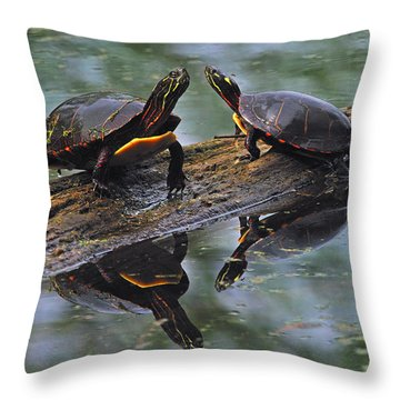Midland Painted Turtles Throw Pillow