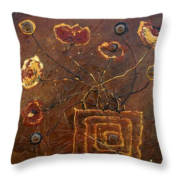 Midnight Poppies Throw Pillow by Victoria  Johns