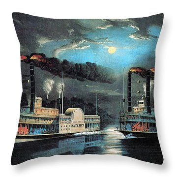 Midnight Race On The Mississippi 1854 Throw Pillow