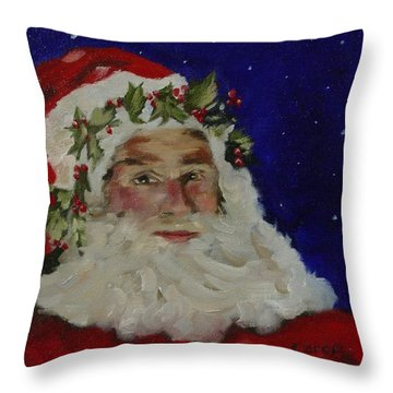 Throw Pillow featuring the painting Midnight Santa by Carol Berning