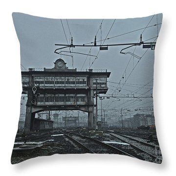 Throw Pillow featuring the photograph Milan Central Station Italy In The Fog by Andy Prendy