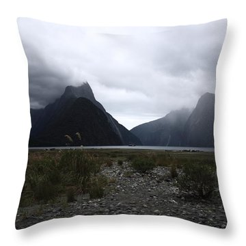 Milford Sound Throw Pillow by Pixel Chimp