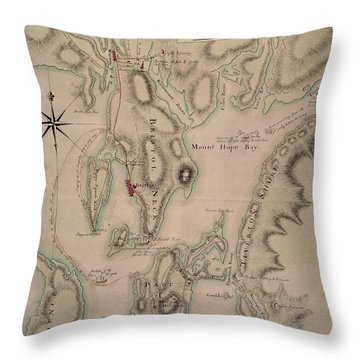 Military Plan Of The North Part Of Rhode Island Throw Pillow by English School