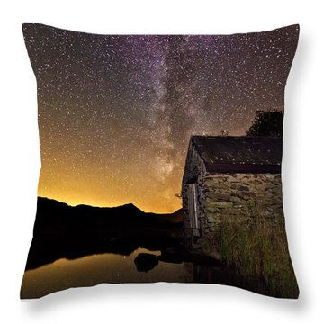 Throw Pillow featuring the photograph Milky Way Above The Old Boathouse by Beverly Cash