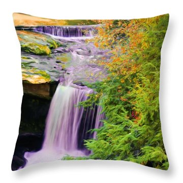 Mill Creek Waterfall Throw Pillow by Michelle Joseph-Long