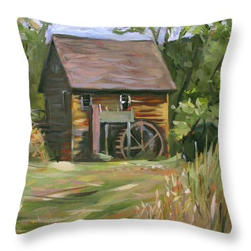 Mill In The Meadow Throw Pillow by Nancy Griswold