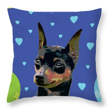 Minature Pinscher Throw Pillow by One Rude Dawg Orcutt