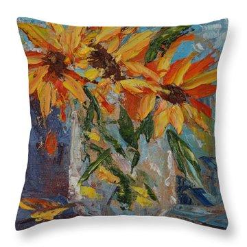 Mini Sunflowers In A Mason Jar Throw Pillow by Carol Berning
