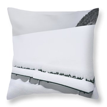 Minimalist Winter Landscape With Lots Of Snow Throw Pillow by Matthias Hauser